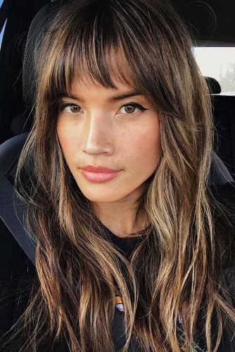 Blunt Bangs And Messy Layers #haircuts #faceshape