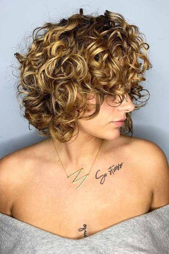 Short Curly Bob With Bangs #haircuts #faceshape