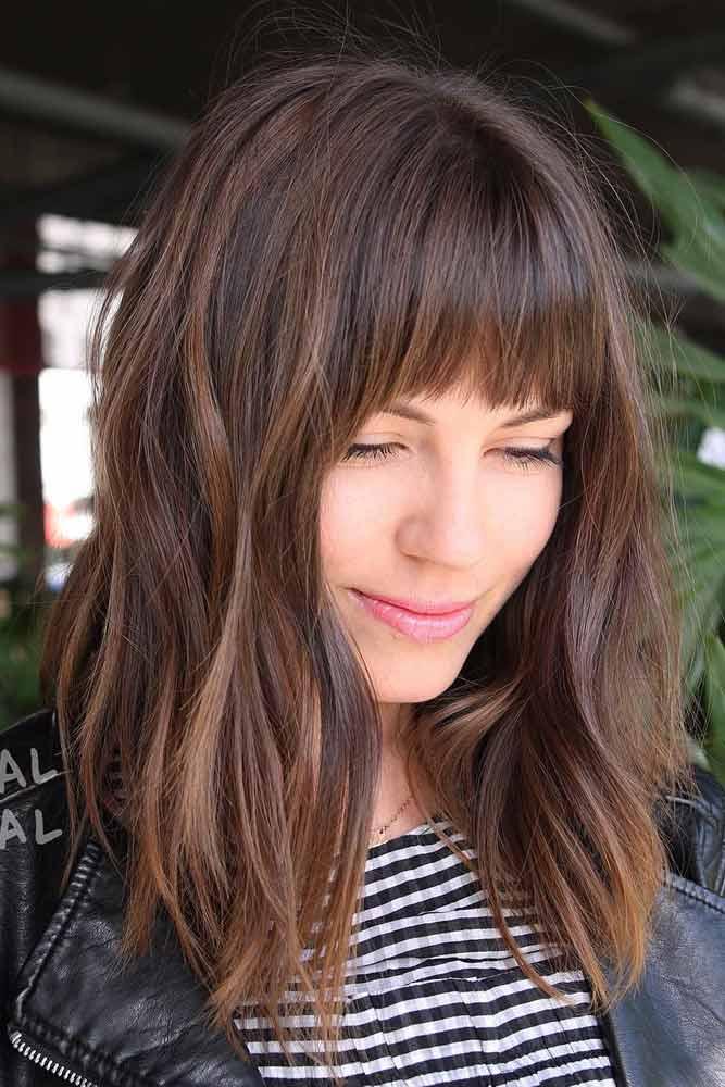 A-line Blunt Lob Hairstyles With Bangs #haircutswithbangs #haircuts #mediumhaircut #brownhair #straighthair