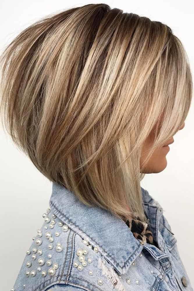 Angled Bob With Side Long Bang #hairstyleswithbangs #bangs #typesofbangs