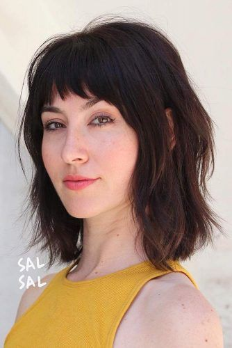 Medium Haircut With Baby Bangs #haircutswithbangs #haircuts #mediumhaircut