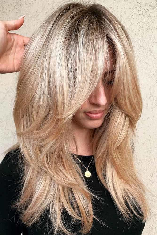 Center-Parted Long Bangs #hairstyleswithbangs #bangs #typesofbangs