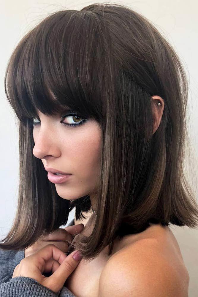 Lob Thick Straight Hairstyles With Bangs #hairstyleswithbangs #bangs #typesofbangs