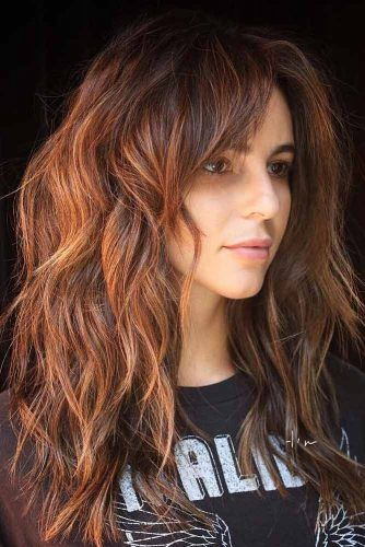 Long Layered Haircut With Side Bangs #haircutswithbangs #haircuts #longhaircut #auburnhighlights #layeredhair