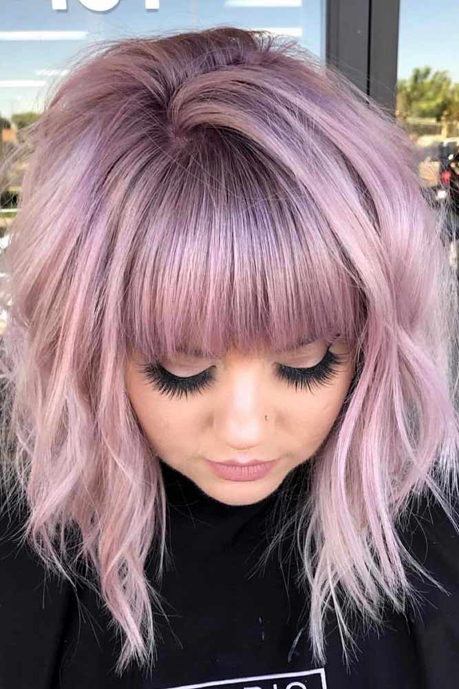 Medium Hairstyle Thick Hairstyles With Bangs #haircutswithbangs #haircuts #mediumhaircut #mauvehair