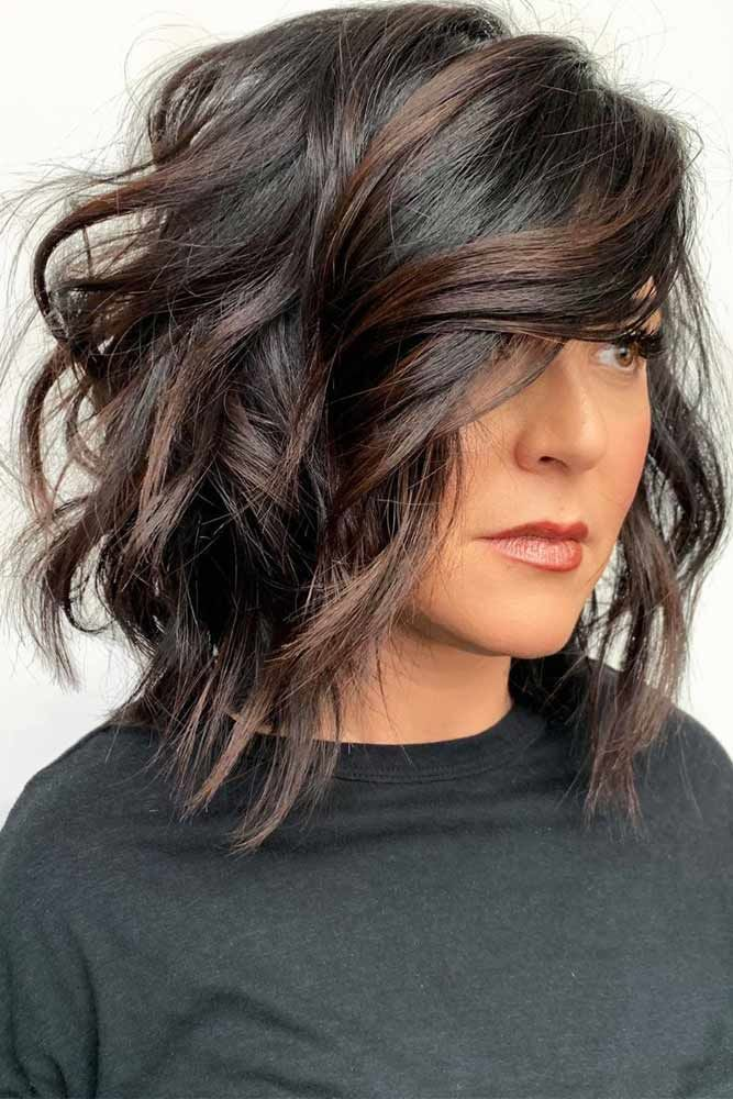 Shaggy Lob Long Side Hairstyles With Bangs #hairstyleswithbangs #bangs #typesofbangs