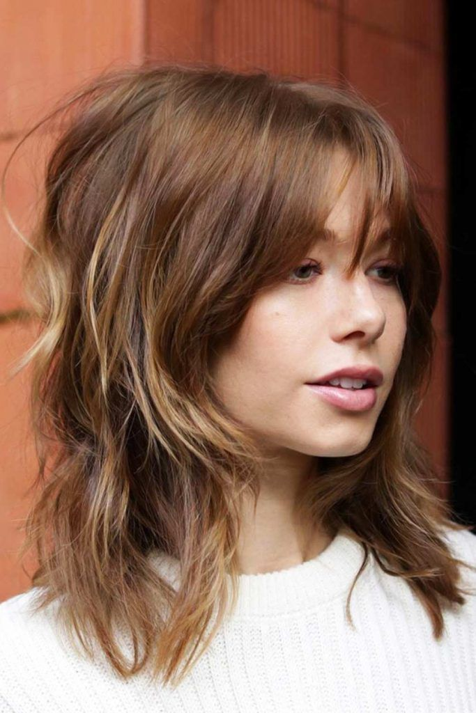 Shaggy Waves With Arched Bangs #hairstyleswithbangs #bangs #typesofbangs