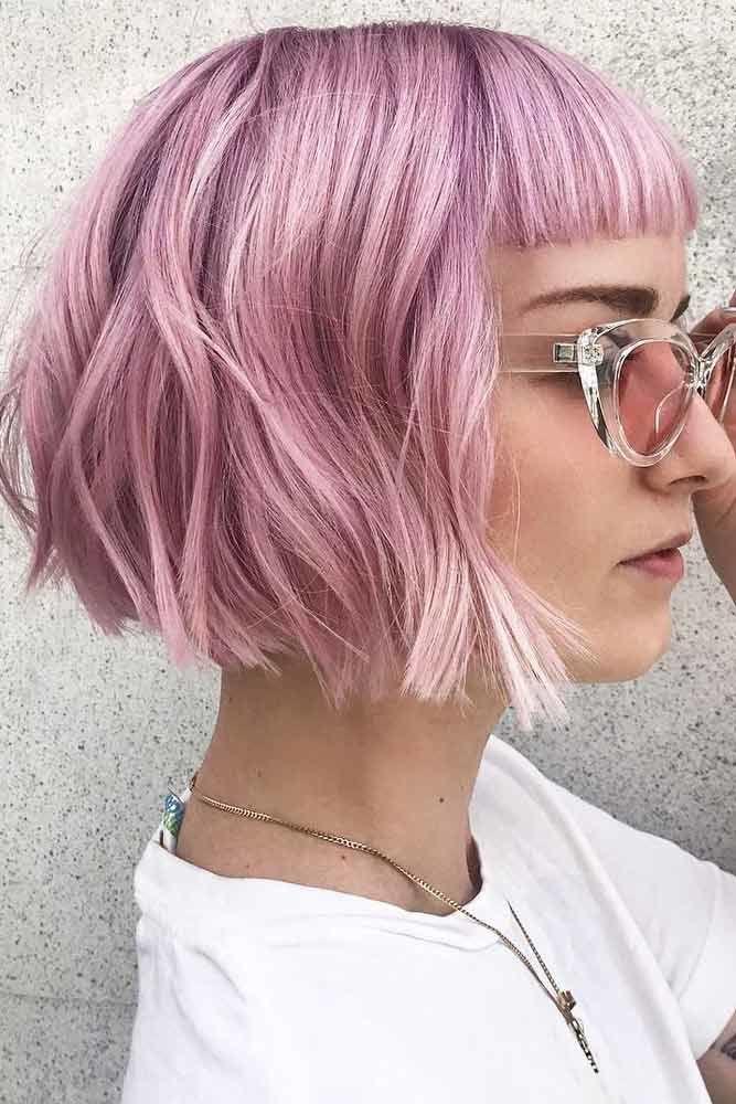 Short Pink Bob With Baby Bangs #hairstyleswithbangs #bangs #typesofbangs