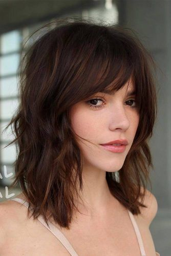 Medium Hair With Wispy Bangs #hairstyleswithbangs #hairstyles #bangs #mediumhairstyles