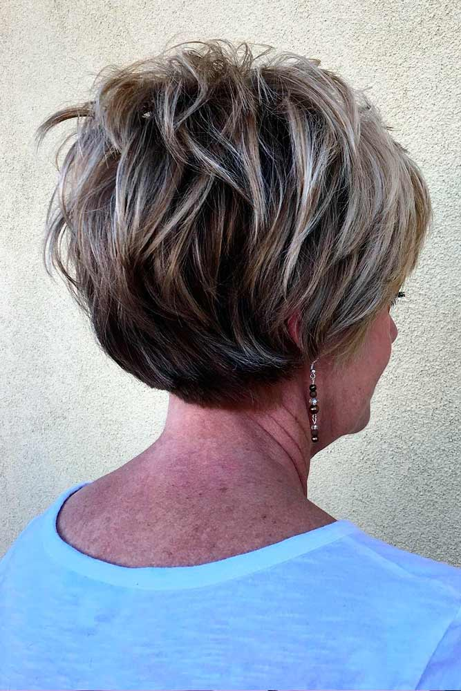 Messy, Bright And Short Hairstyles For Women Over 50