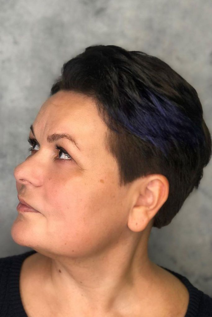 Cool Violet Accents On Pixie #hairstylesforwomenover50