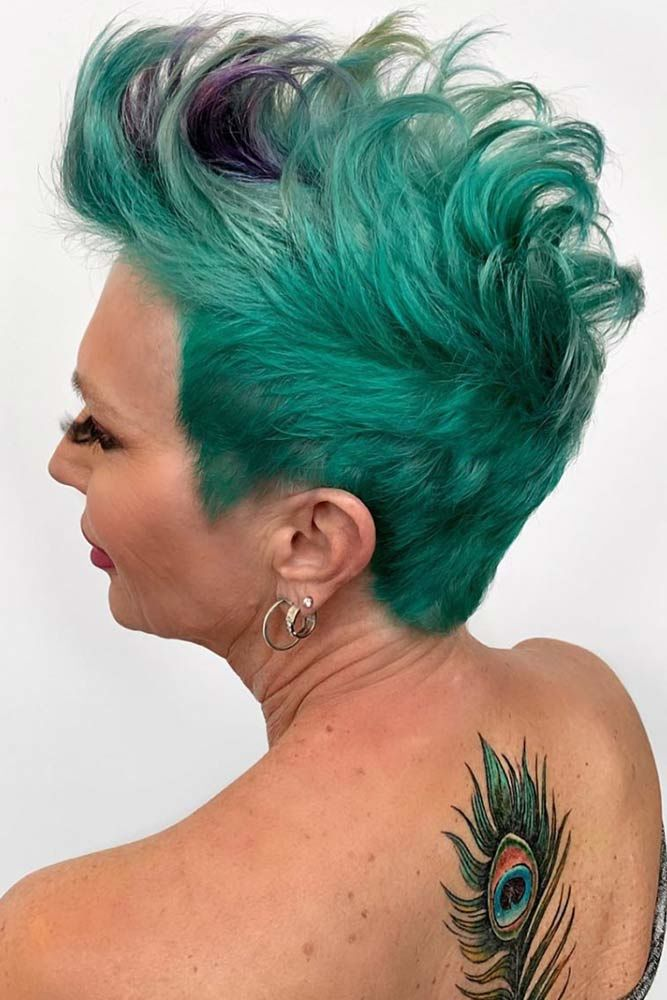 Brushed Up Faux Hawk Short Hairstyles For Women Over 50 #hairstylesforwomenover50