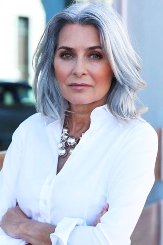Cold Toned Center Parted Waves Short Hairstyles For Women Over 50 #hairstylesforwomenover50