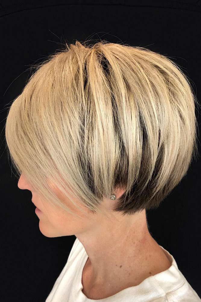 Cropped Cut With Side-Swept Bangs #bob #bangs