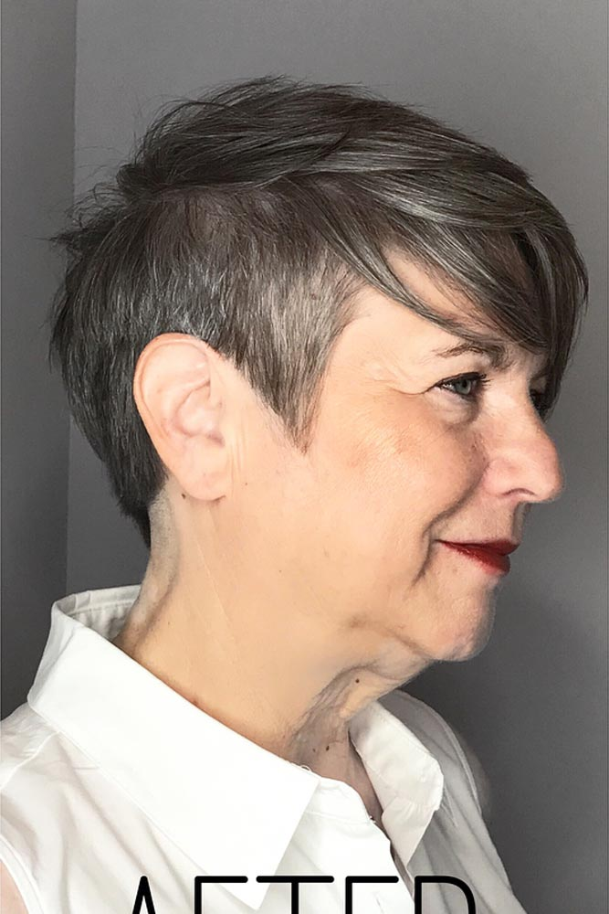 Grey Pixie Short Hairstyles For Women Over 50