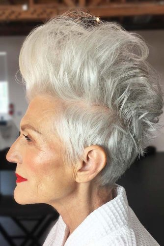 Bold Icy Blonde Faux Hawk Hairstyle