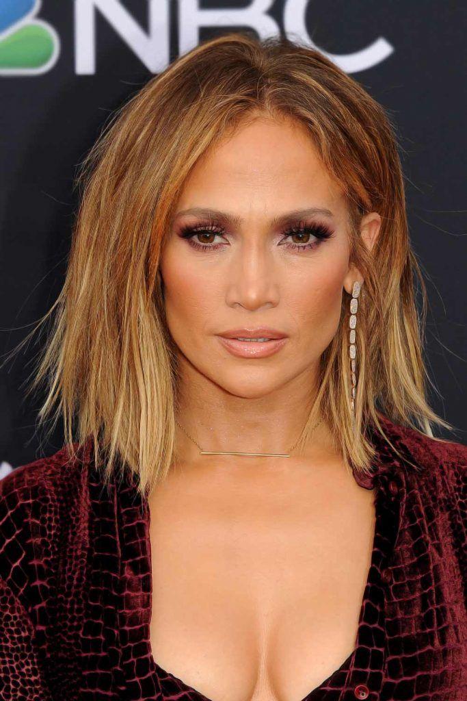 Jennifer Lopez: Messy Shaggy Lob #hairstylesforwomenover50