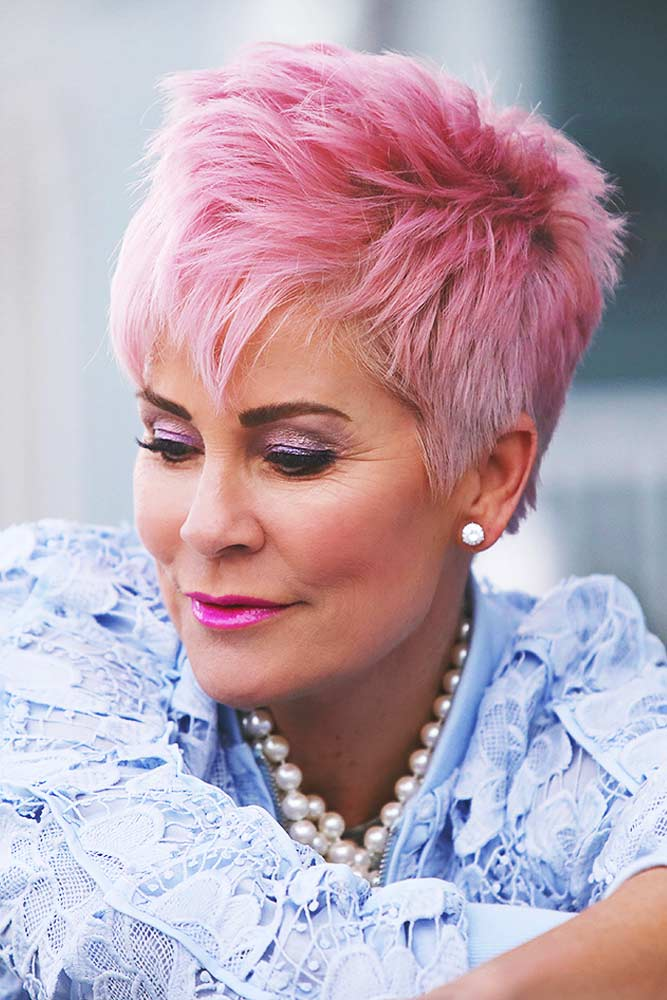 Cool Rose Pixie Short Hairstyles For Women Over 50