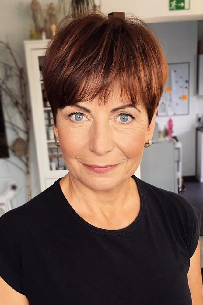 Brown Pixie Short Hairstyles For Women Over 50 #hairstylesforwomenover50 #shorthaircutsforwomenover50 #haircuts #pixiecut #straighthair