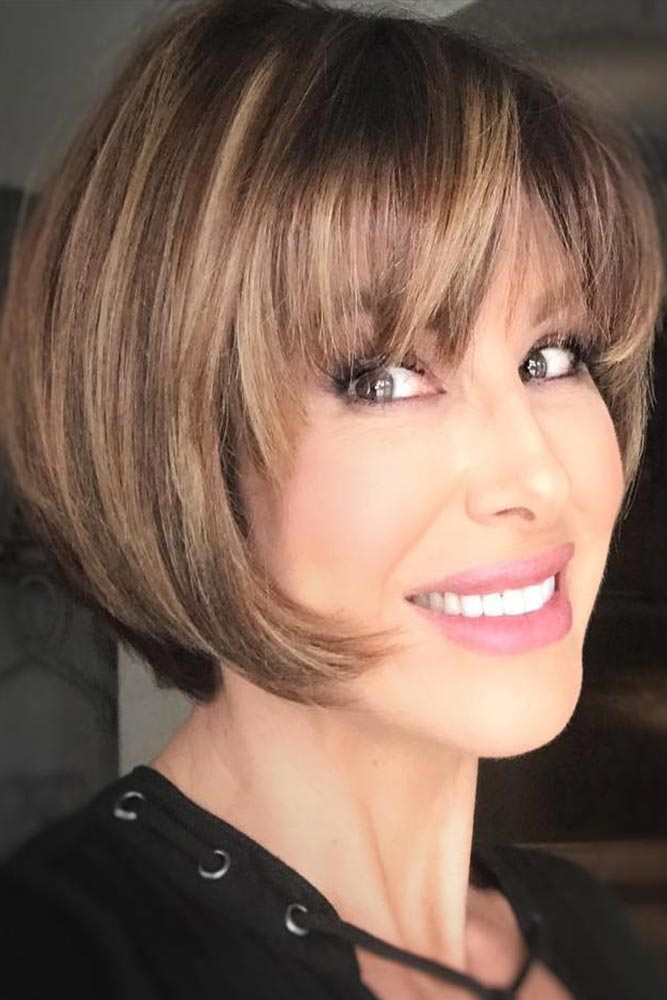Muted Brown Short Layered Bob With Straight Bang #bangs #bob #straighthair