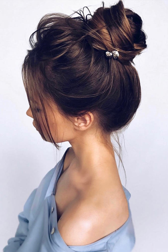 High Bun With Side Bangs #sidesweptbangs #haircuts