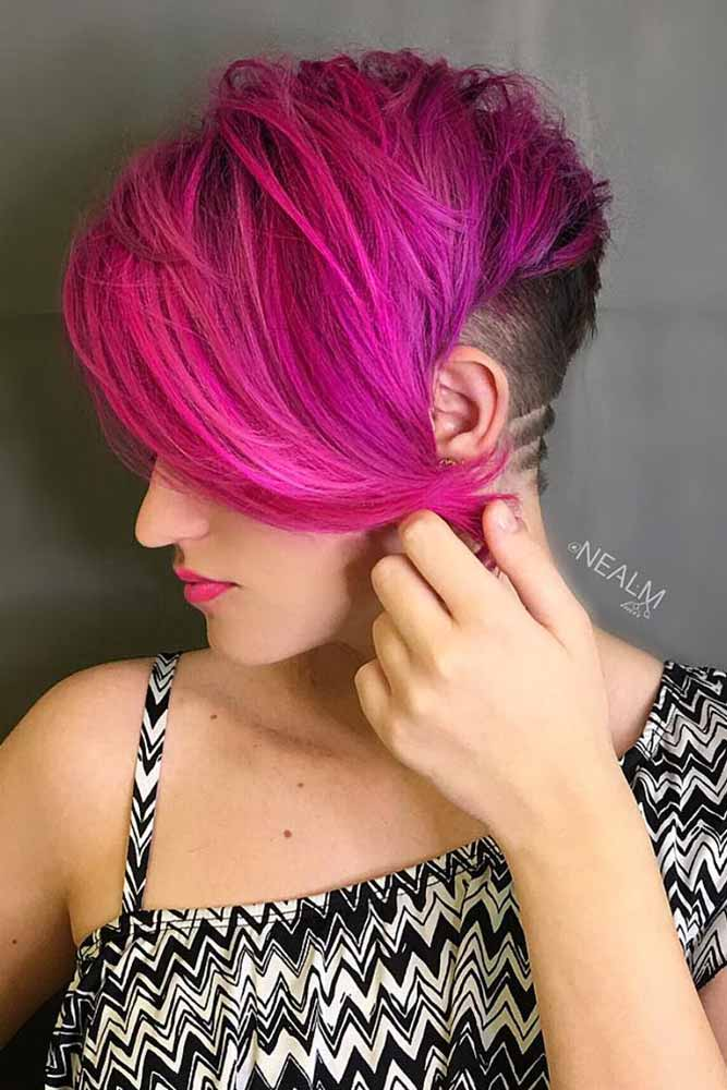 Don't Forget About Your Face Shape #sidesweptbangs #pixiecut #longpixie #pinkhair