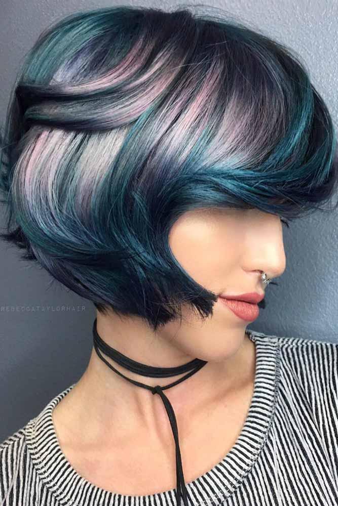 Bangs Don't Fit In Your Hair Wash Schedule #sidesweptbangs #shortbob #bobhaircut #bluebalayage