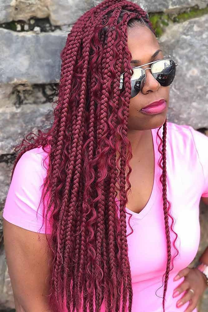 Bow Braids With Curly Free Locks #braids #boxbraids