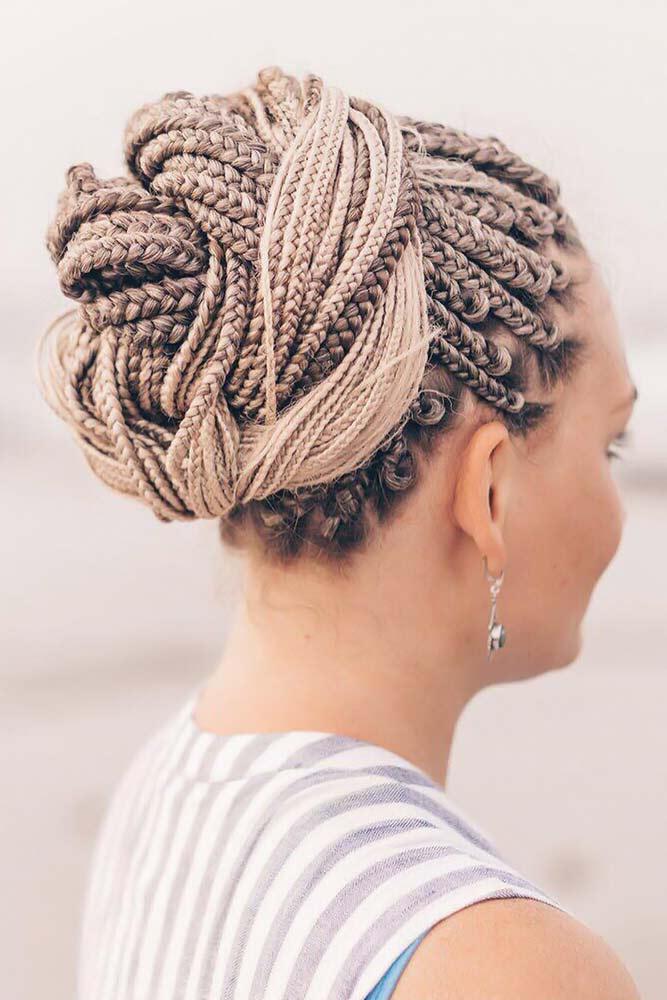 Box Braids Twisted Updo #braids #boxbraids
