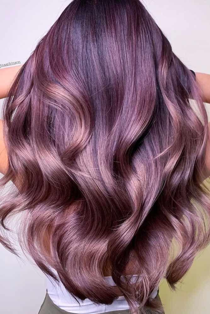 Smoky Mauve Long Layered Hair #longhair #layeredhair