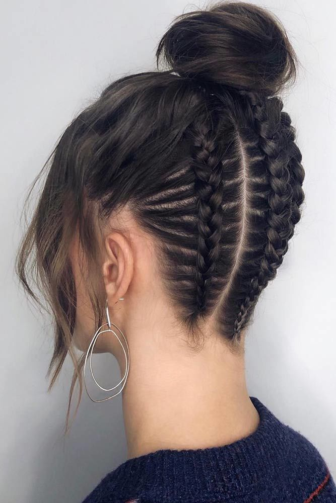 Upside Down Braids With High Bun #hairstylesforroundfaces #roundfaces