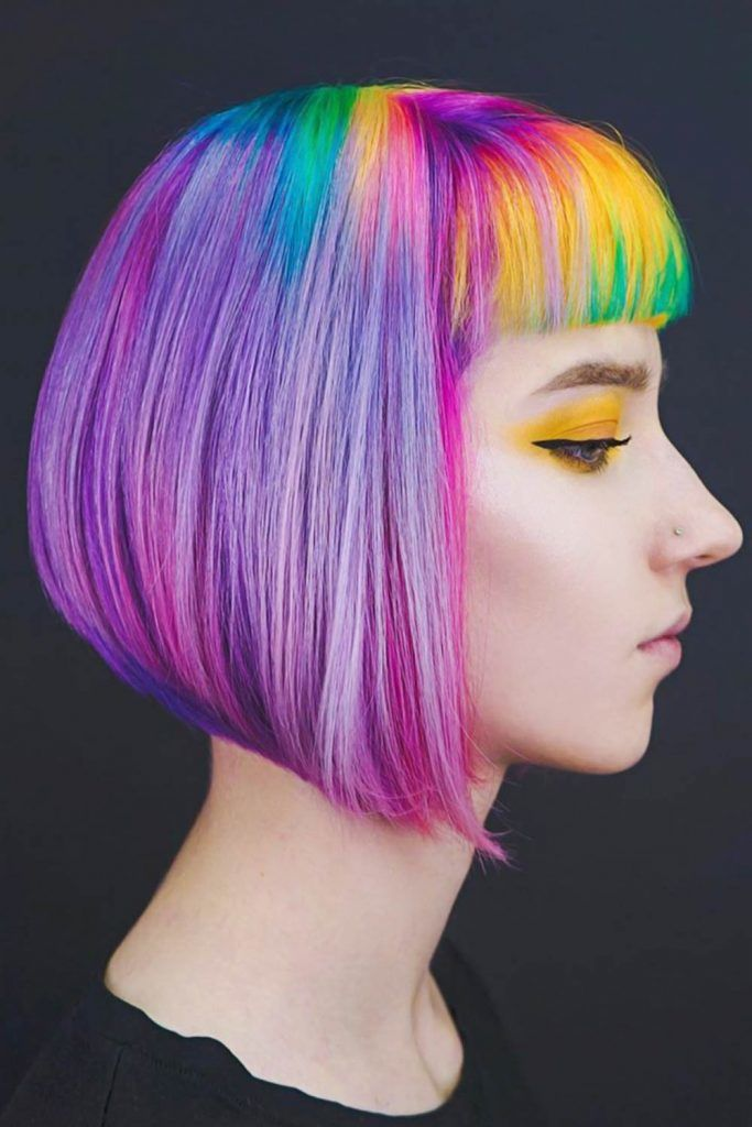 Cotton Candy Purple Hair With Rainbow Bob #cottoncandyhair