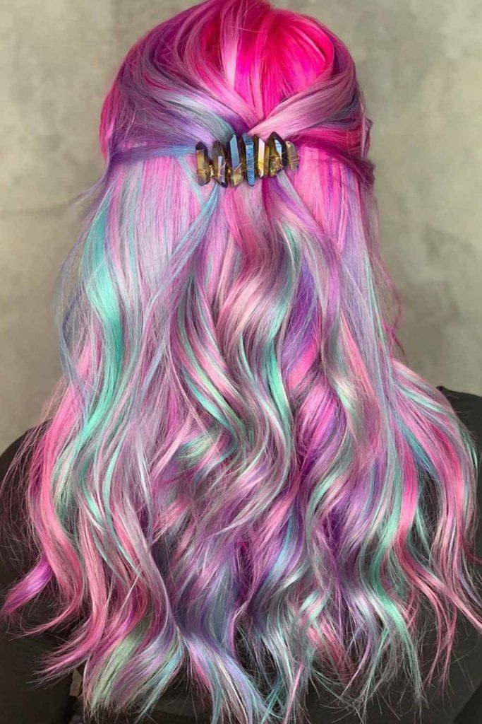 Cotton Candy Long Hair Half-Up #cottoncandyhair