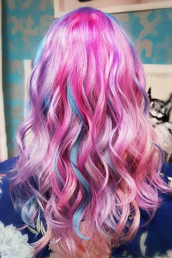 Purple & Cotton Candy Hair Highlights #cottoncandyhair