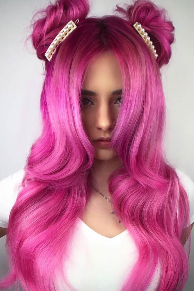 Dark To Light Candy Hair Space Buns #cottoncandyhair #pinkhair