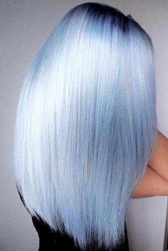 Hair Color - Cloud Blue Black Roots #bluehair