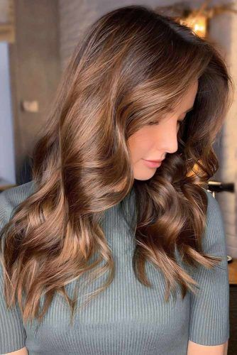 Caramel Brown Hair Waves #haircolorsforwinter
