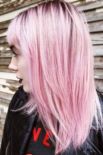 Hair Color - Pastel Pink Brunette Roots #pinkhair