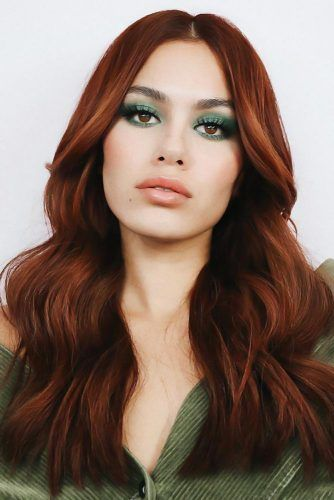 Center Parted Rich Red #haircolorsforwinter