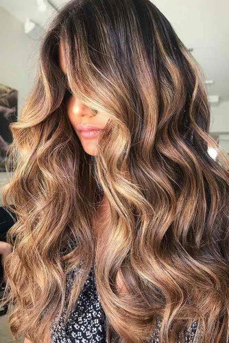 Dark Caramel Balayage Wavy Styling #longhair #wavyhair #brownhair