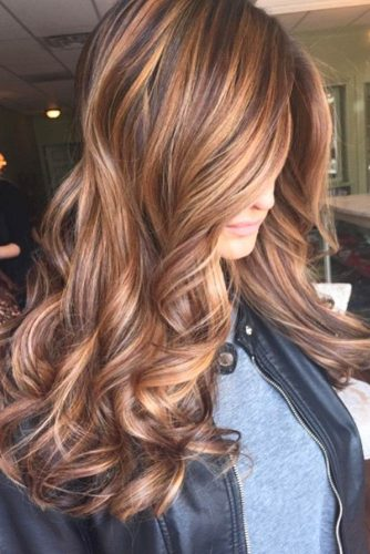Caramel Ribbons with Chocolate Wavy Hair