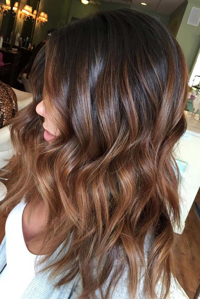 Black Hair with Caramel and Brown Ombre
