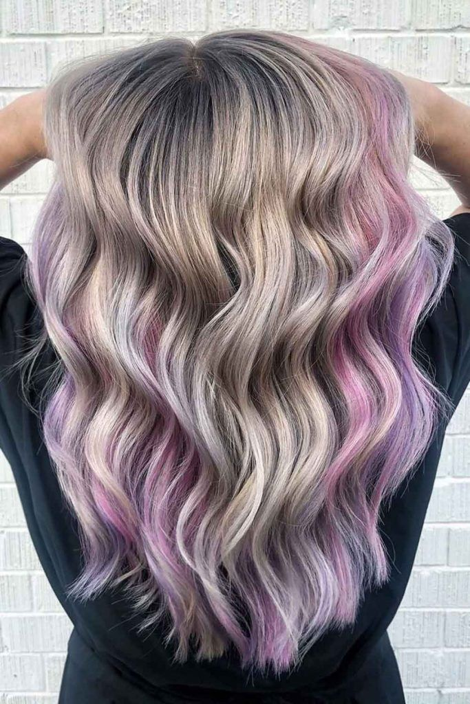 Grey And Light Pink Combo For Amethyst Quartz Hair Look