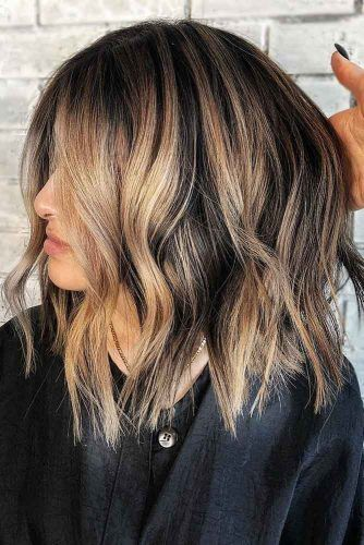 Burlywood Balayage On Textured Long Bob #brunette #highlights #balayage