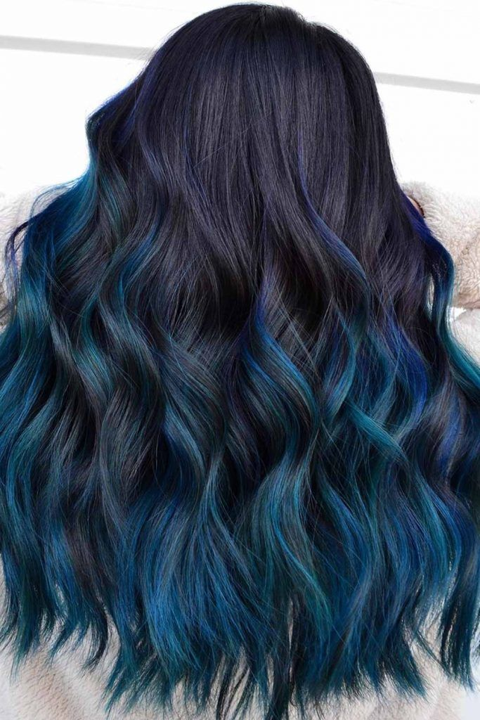 Black And Blue Hair Balayage