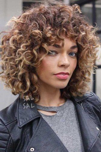 Caramel Blonde Balayage Short Curly Hair #balayage