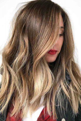 Honey Blonde Balayage Hair Color #brunette #balayage