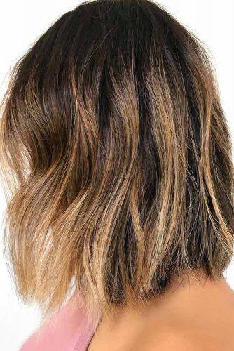 Gold Blonde Balayage Lob Dark Hair #balayage