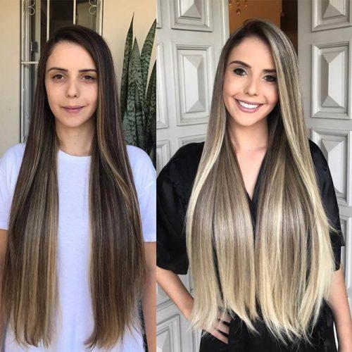 Long Layered Hair with Light Balayage
