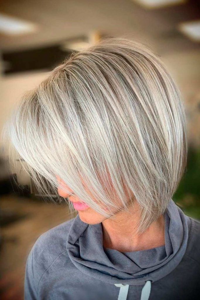 Platinum Blonde Balayage Bob Straight